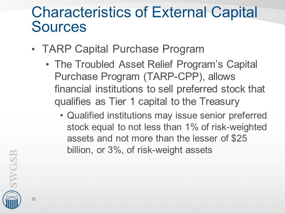 Characteristics of External Capital Sources