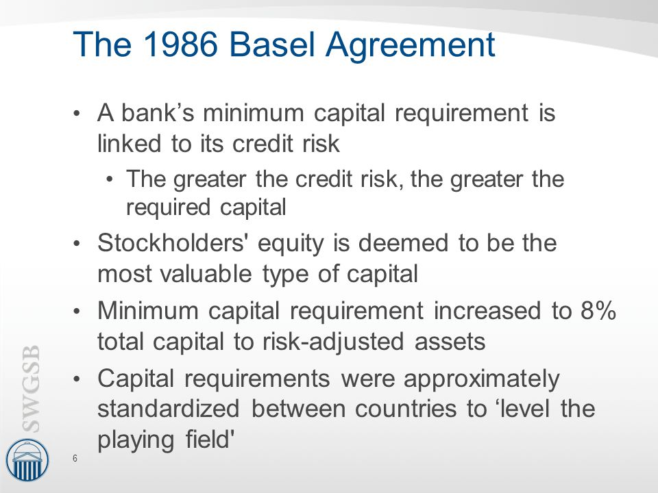 The 1986 Basel Agreement A bank's minimum capital requirement is linked to its credit risk.