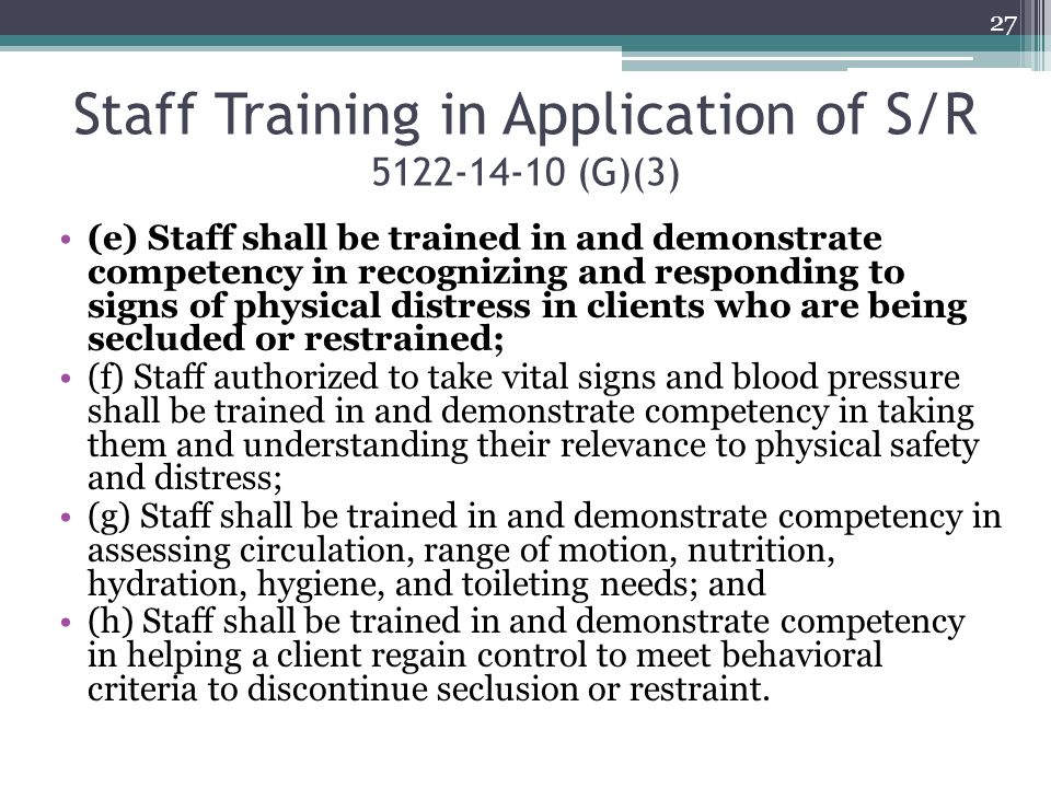 Staff Training in Application of S/R 5122-14-10 (G)(3)