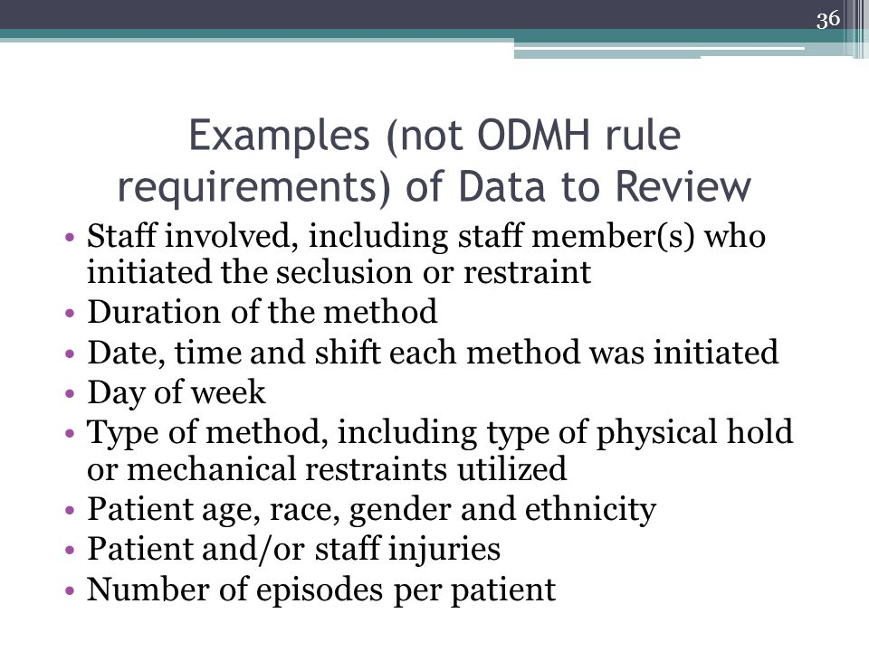 Examples (not ODMH rule requirements) of Data to Review