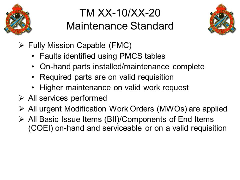TM XX-10/XX-20 Maintenance Standard