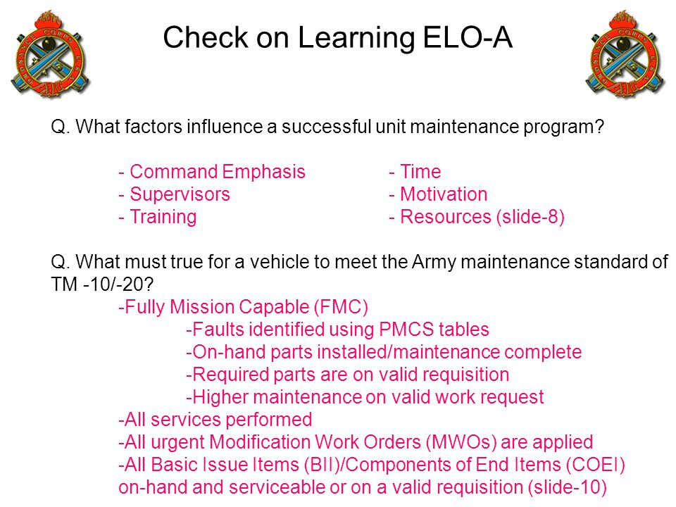 Check on Learning ELO-A