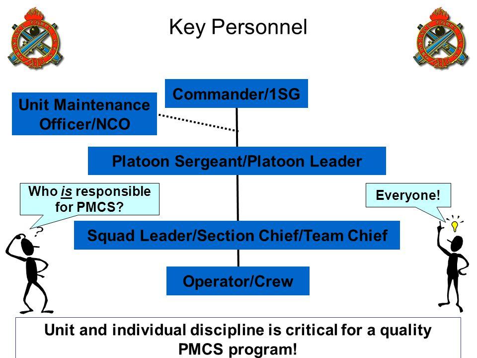 Key Personnel Commander/1SG Unit Maintenance Officer/NCO