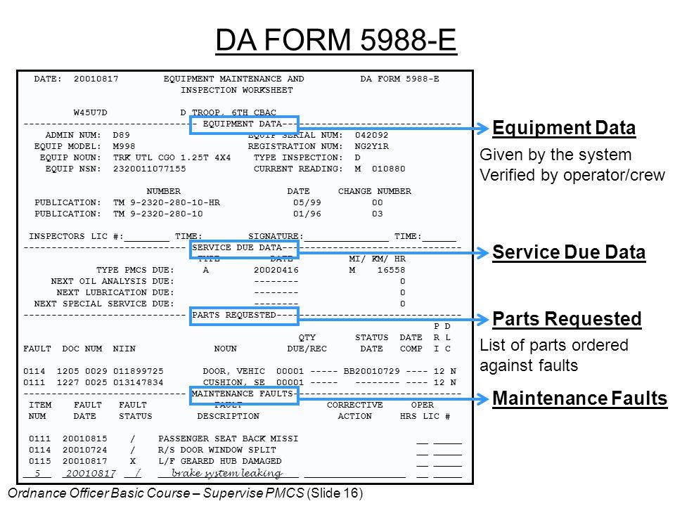 DA FORM 5988-E Equipment Data Service Due Data Parts Requested