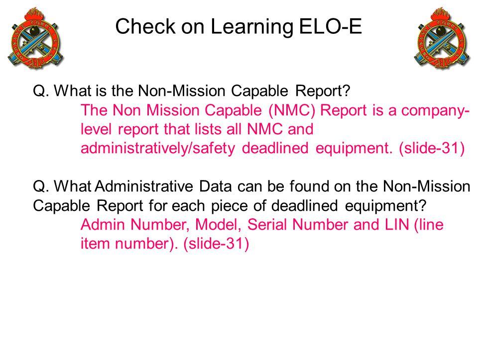 Check on Learning ELO-E