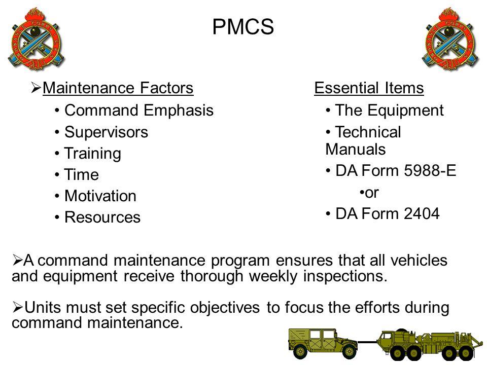 PMCS Maintenance Factors Essential Items Command Emphasis Supervisors