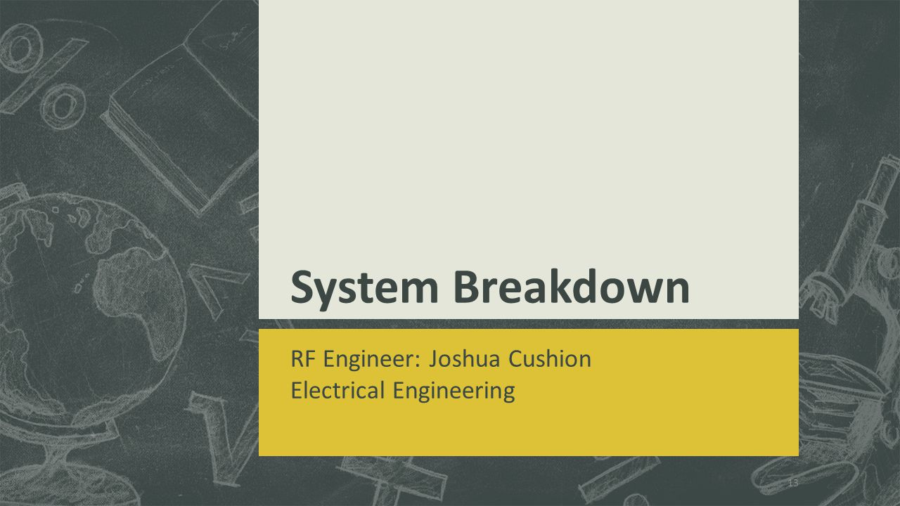 System Breakdown RF Engineer: Joshua Cushion Electrical Engineering