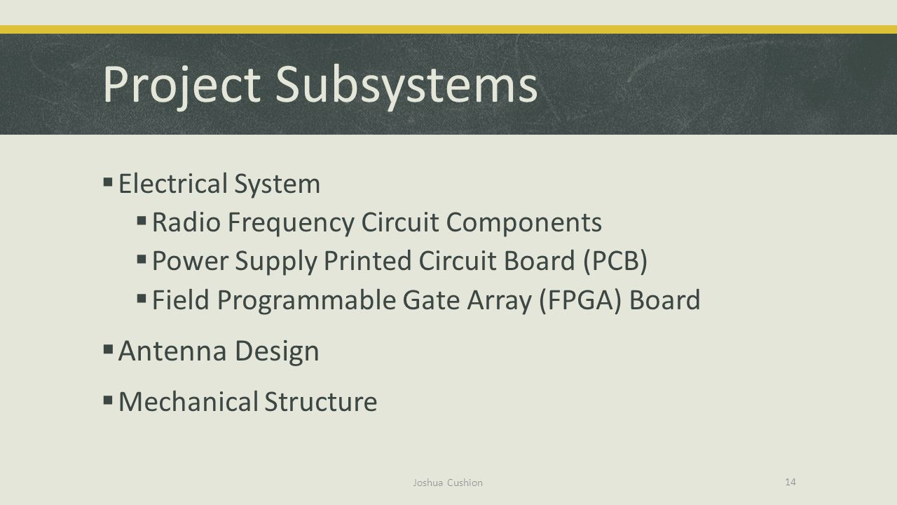 Project Subsystems Antenna Design Electrical System