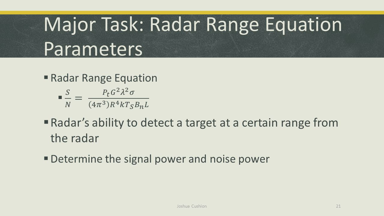 Major Task: Radar Range Equation Parameters