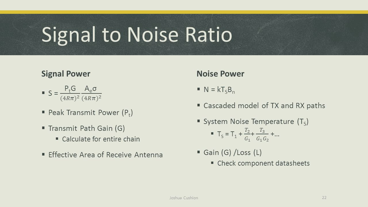 Signal to Noise Ratio Signal Power Noise Power