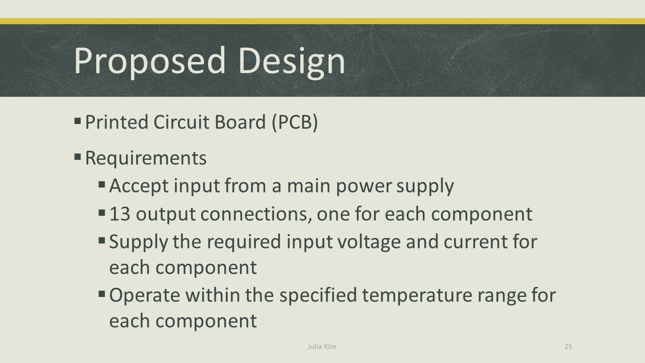 Proposed Design Printed Circuit Board (PCB) Requirements