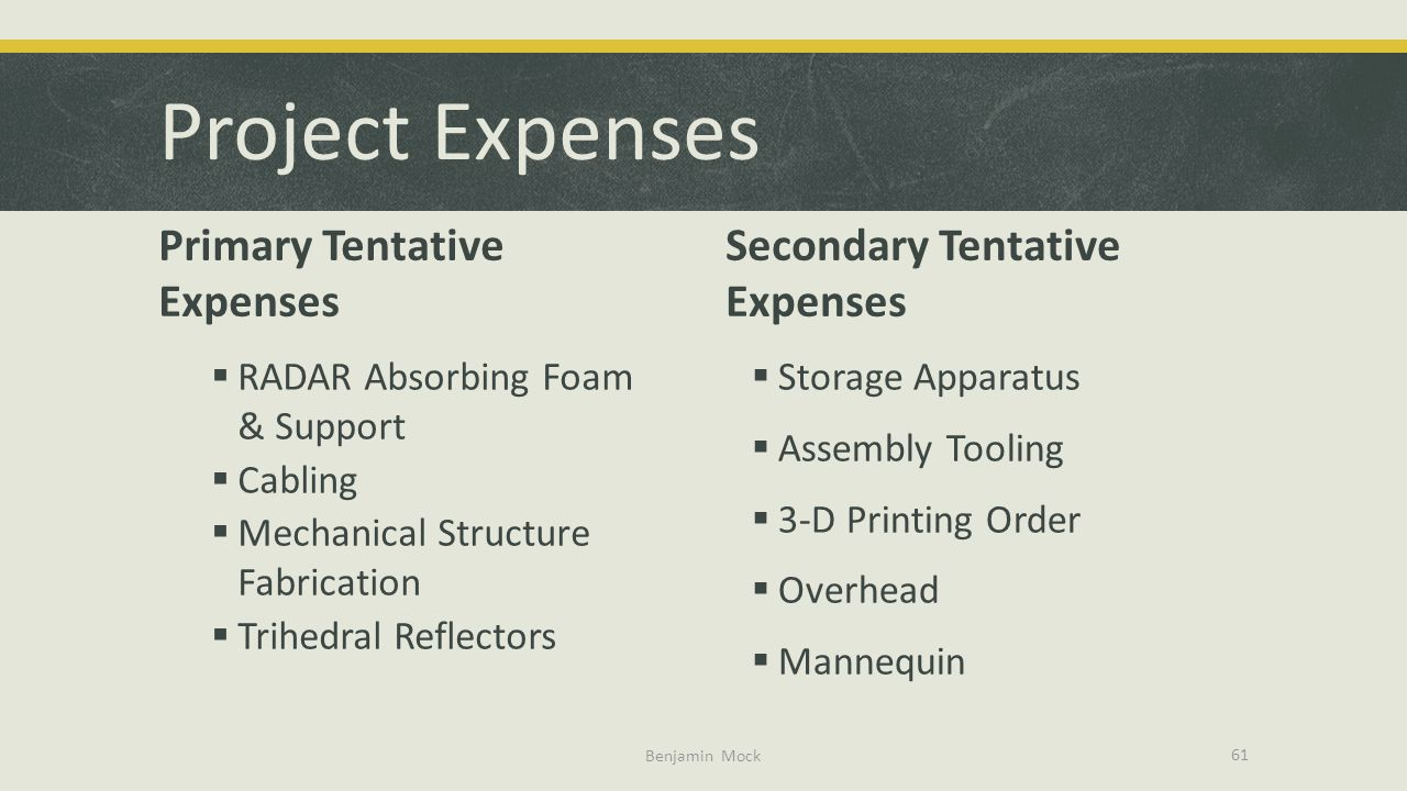 Project Expenses Primary Tentative Expenses