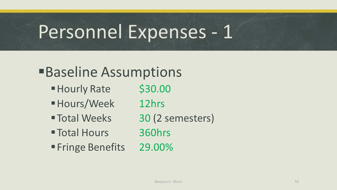 Personnel Expenses - 1 Baseline Assumptions Hourly Rate $30.00