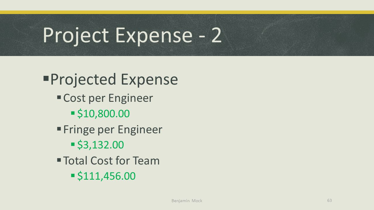 Project Expense - 2 Projected Expense Cost per Engineer