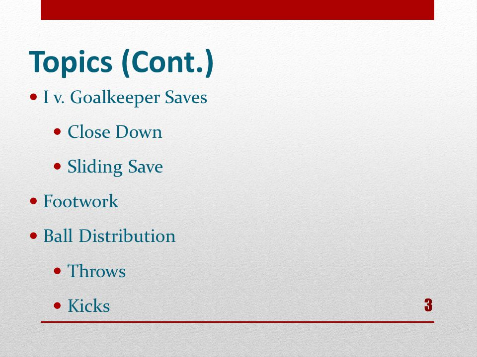 Topics (Cont.) I v. Goalkeeper Saves Close Down Sliding Save Footwork