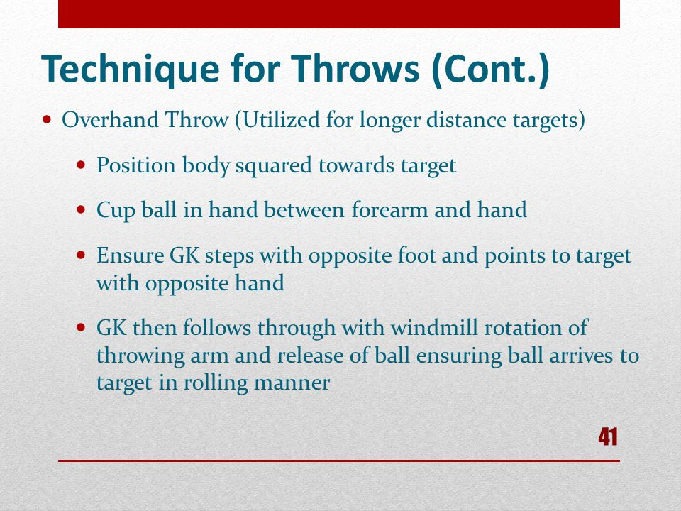 Technique for Throws (Cont.)