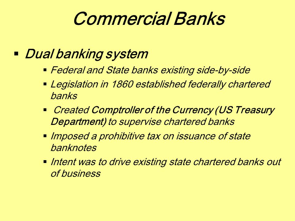 Commercial Banks Dual banking system
