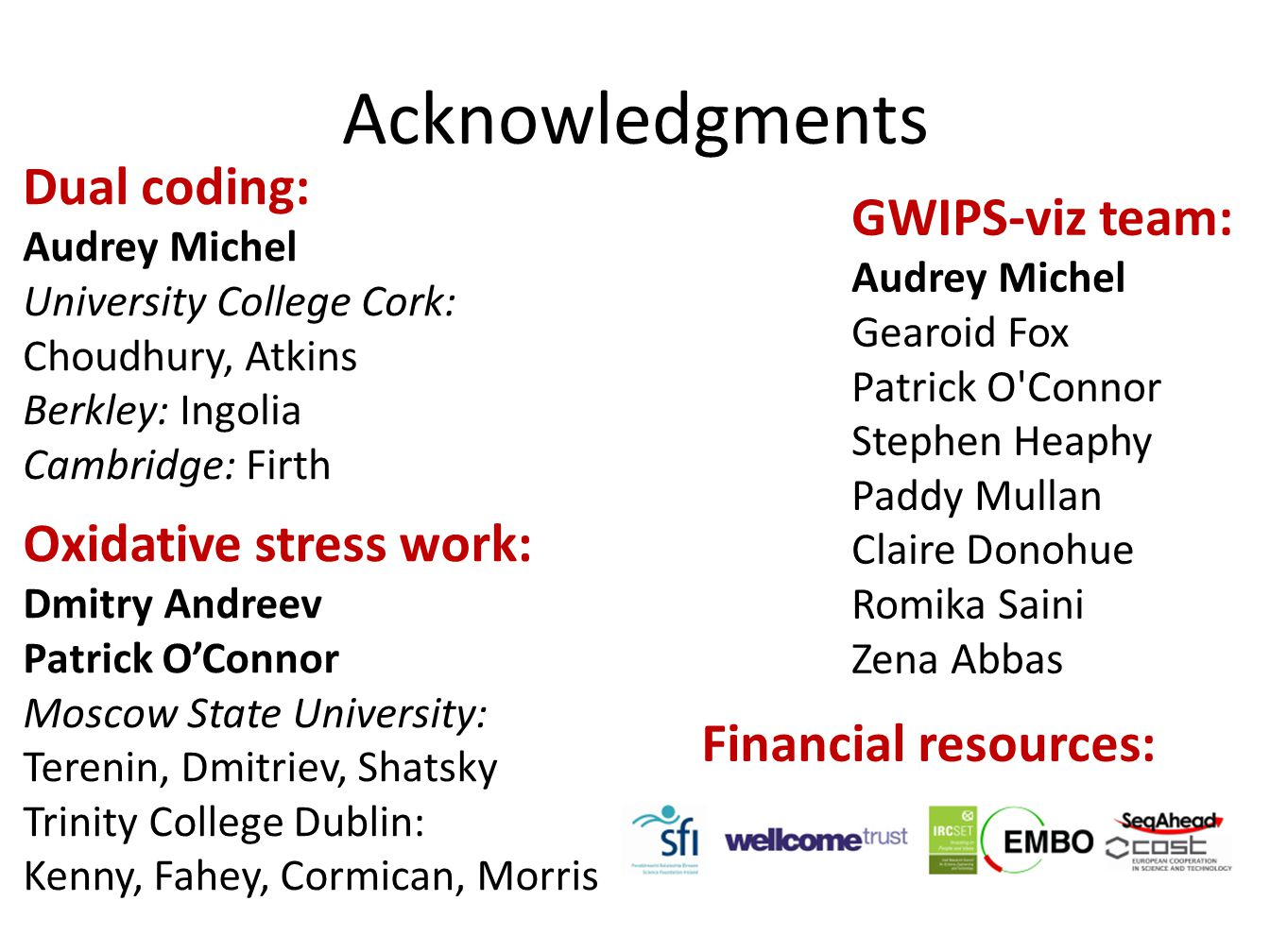 Acknowledgments Dual coding: GWIPS-viz team: Oxidative stress work: