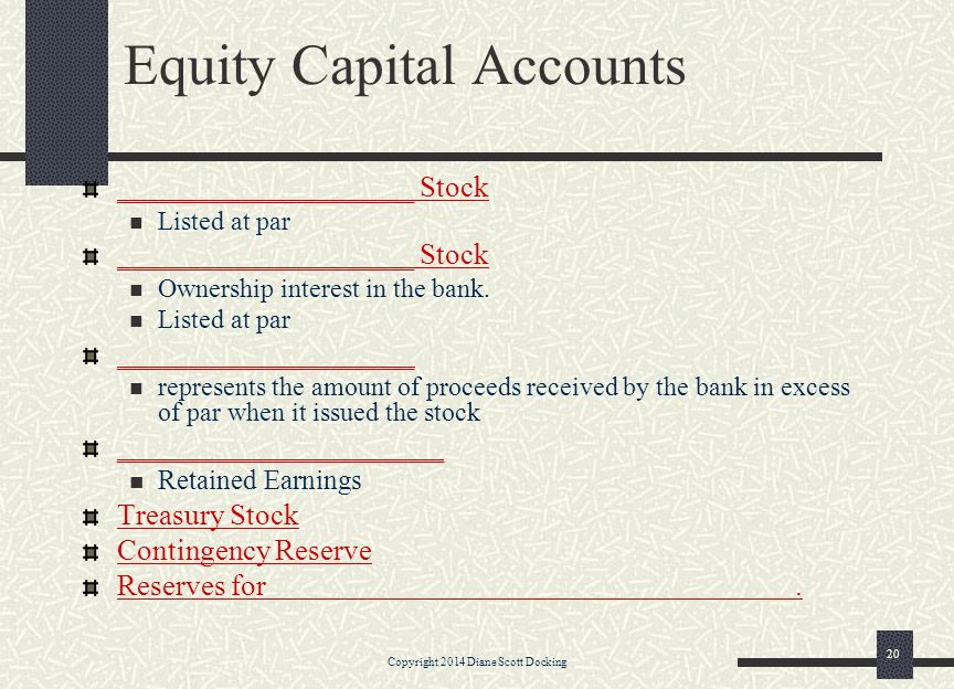 Equity Capital Accounts