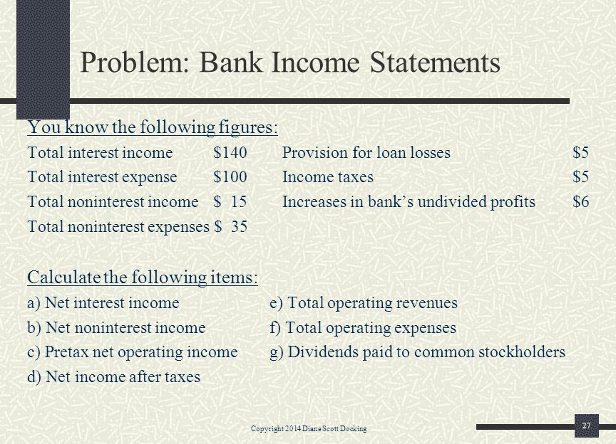 Problem: Bank Income Statements