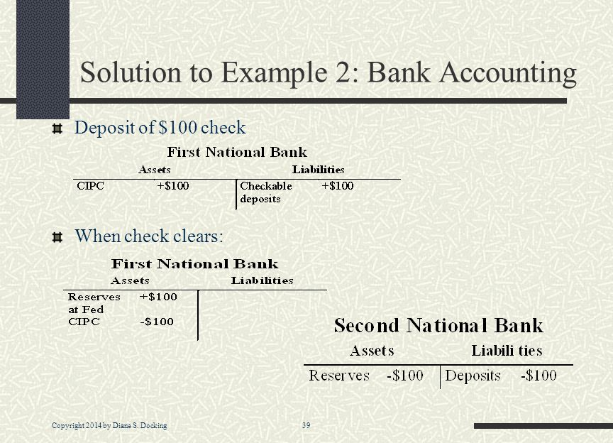 Solution to Example 2: Bank Accounting