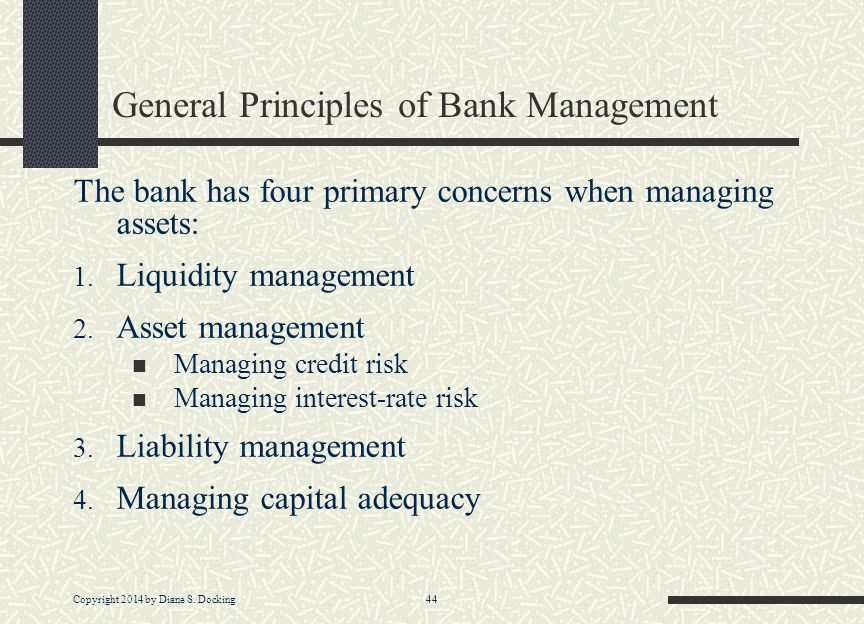 General Principles of Bank Management