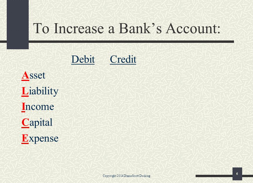 To Increase a Bank's Account: