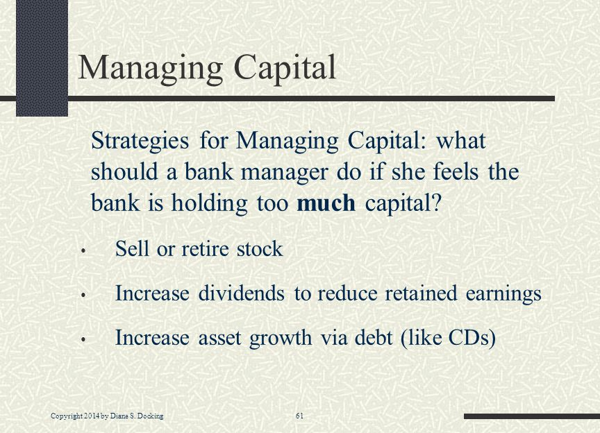 Managing Capital Strategies for Managing Capital: what should a bank manager do if she feels the bank is holding too much capital