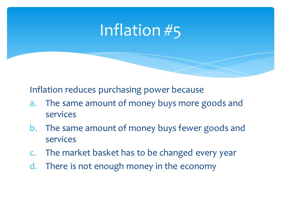 Inflation #5 Inflation reduces purchasing power because