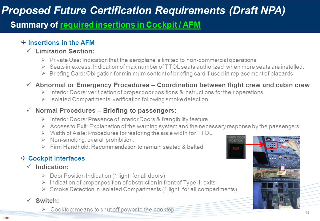 Proposed Future Certification Requirements (Draft NPA)