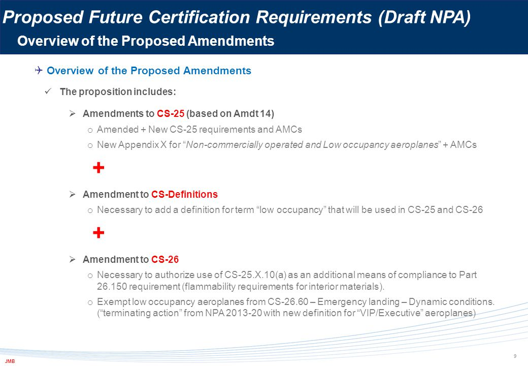 + Proposed Future Certification Requirements (Draft NPA)