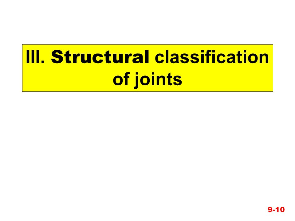 III. Structural classification of joints