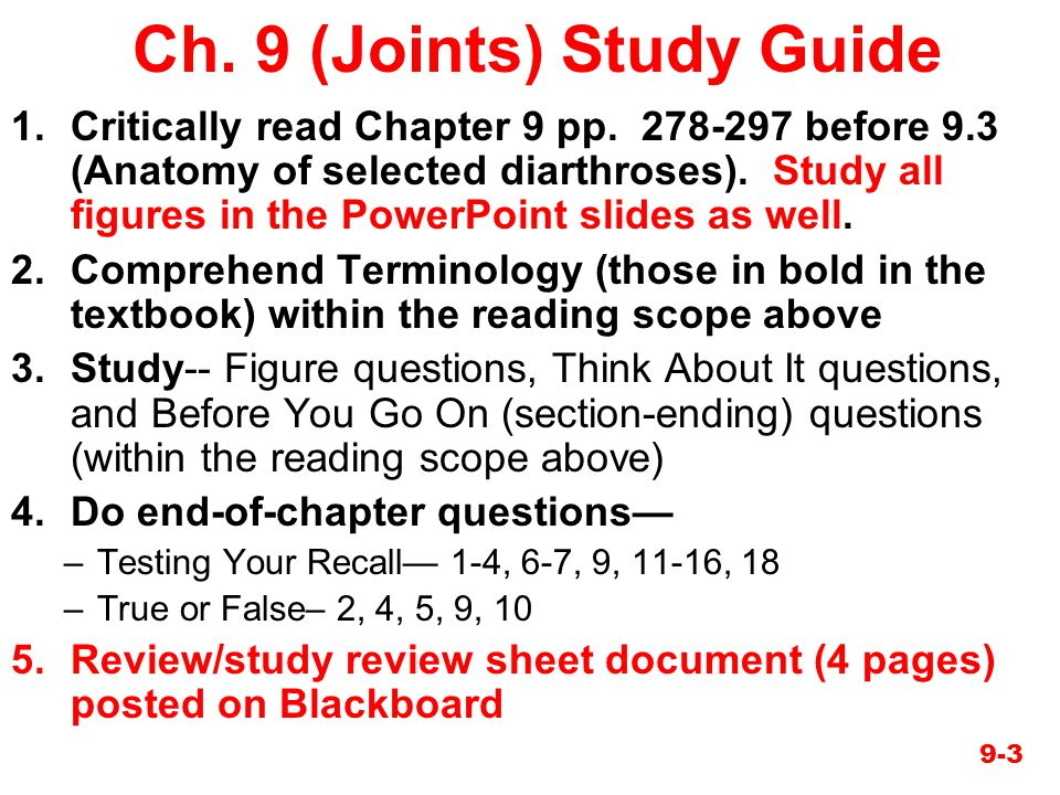 Ch. 9 (Joints) Study Guide