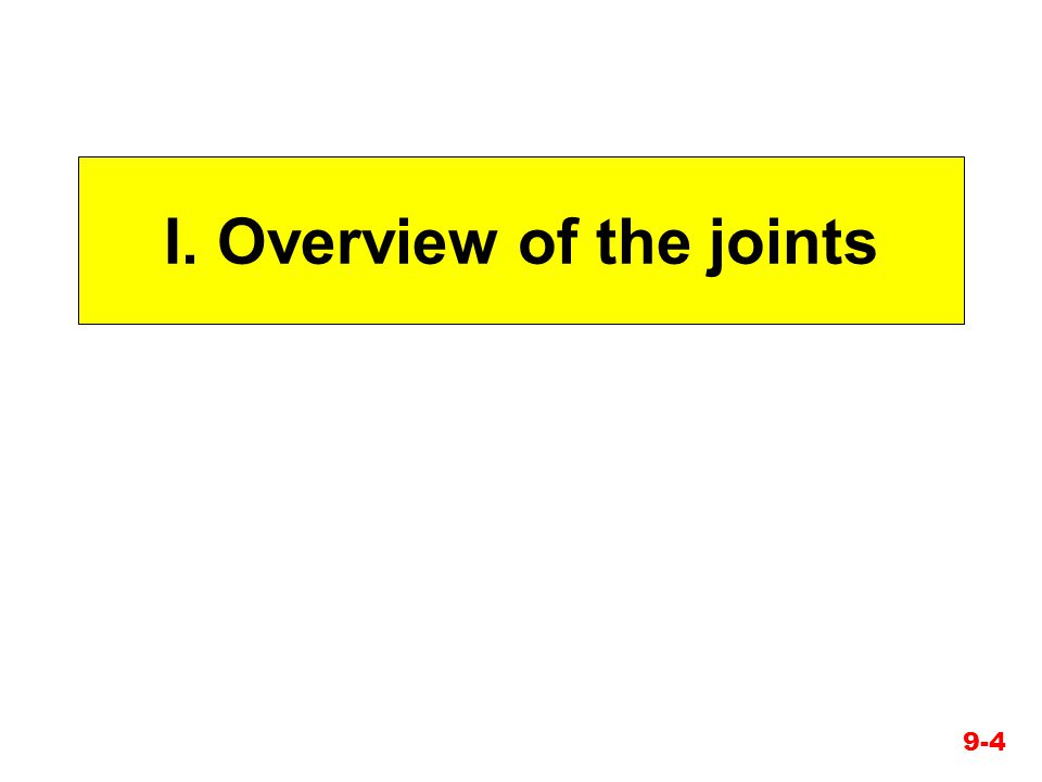 I. Overview of the joints