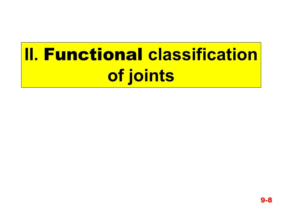 II. Functional classification of joints