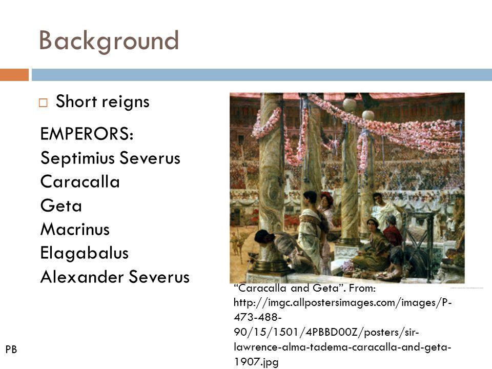 Background Short reigns EMPERORS: Septimius Severus Caracalla Geta