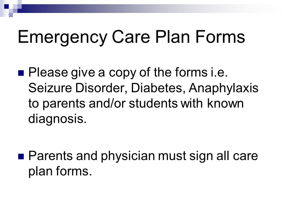 Emergency Care Plan Forms