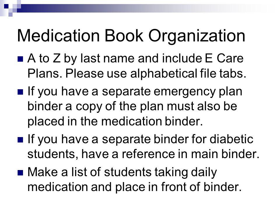 Medication Book Organization