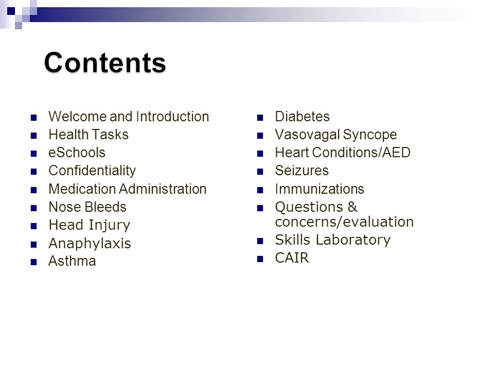 Contents Welcome and Introduction Health Tasks eSchools