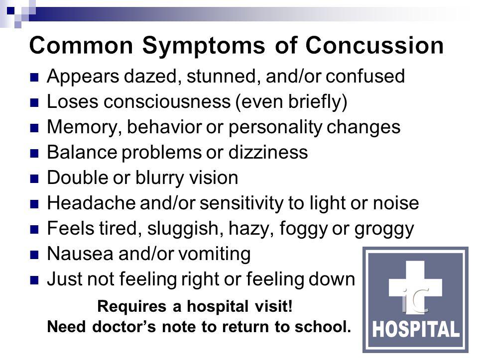 Common Symptoms of Concussion