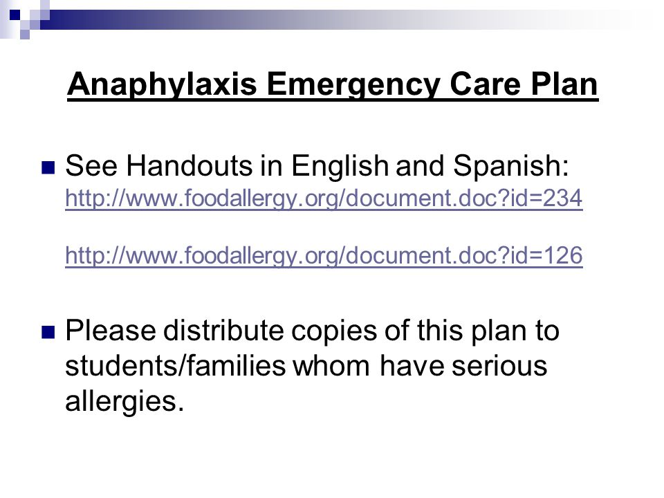 Anaphylaxis Emergency Care Plan