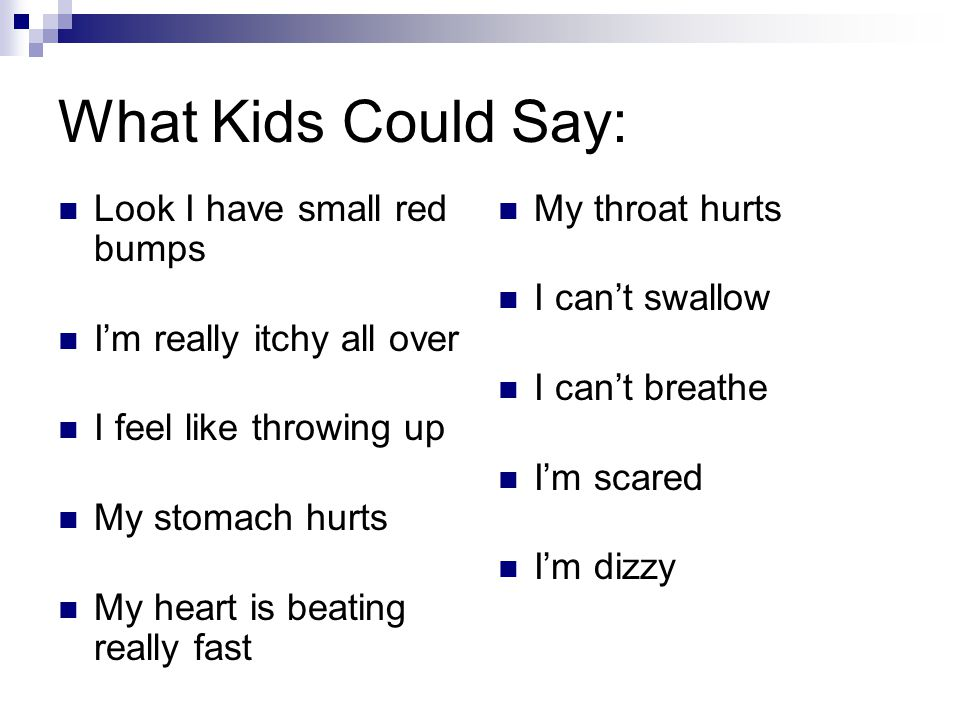 What Kids Could Say: Look I have small red bumps