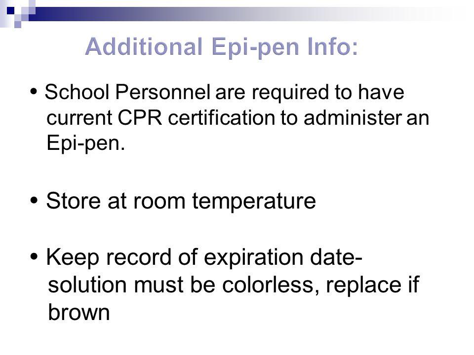 Additional Epi-pen Info:
