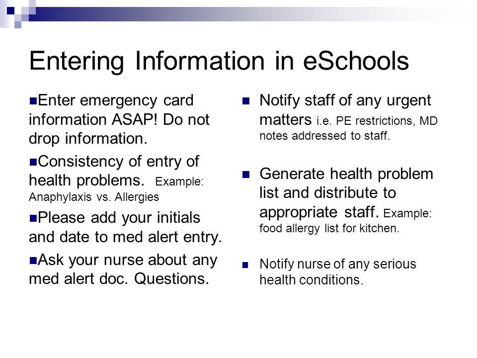 Entering Information in eSchools