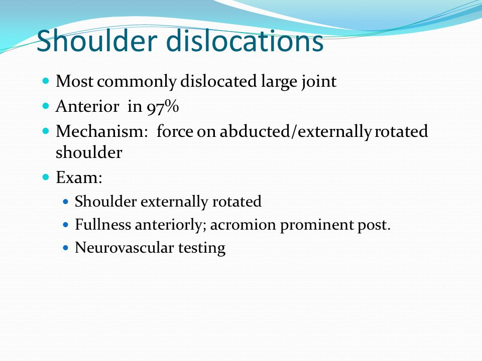 Shoulder dislocations