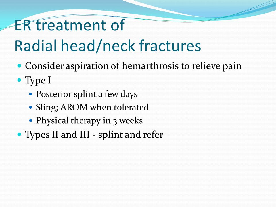 ER treatment of Radial head/neck fractures