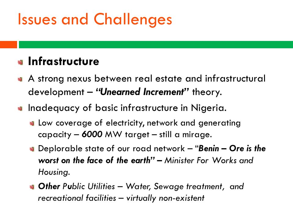 Issues and Challenges Infrastructure