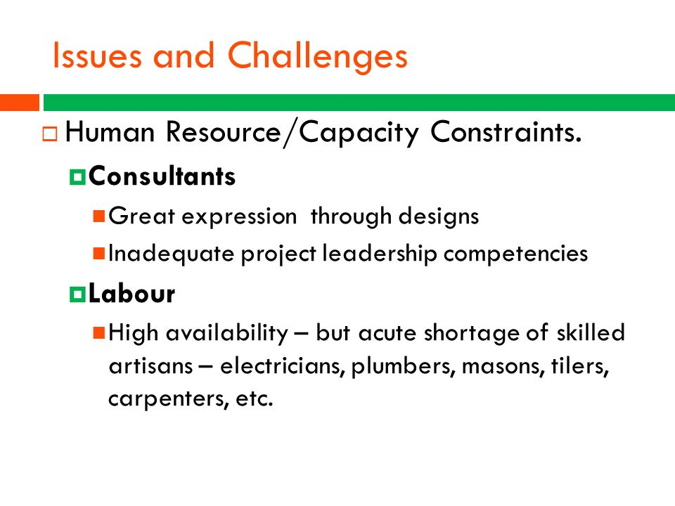 Issues and Challenges Human Resource/Capacity Constraints. Consultants