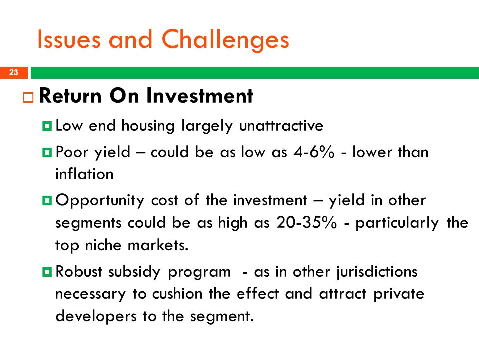 Issues and Challenges Return On Investment