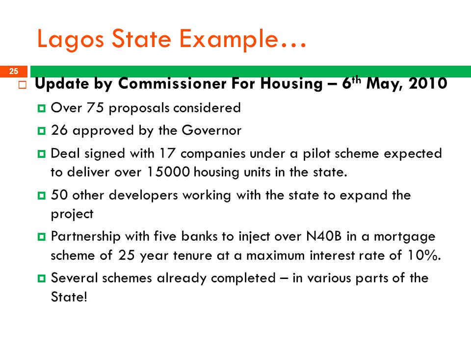 Lagos State Example… Update by Commissioner For Housing – 6th May, 2010. Over 75 proposals considered.